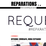 A screenshot of the homepage for the Reparations website.