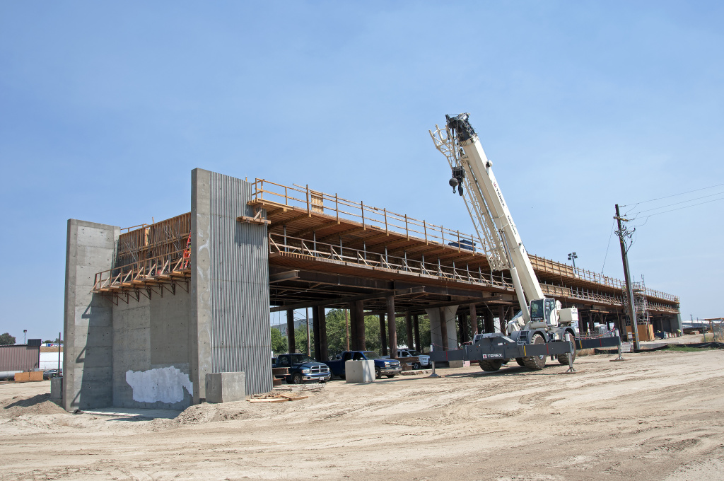 Construction of the Muscat Avenue Viaduct seen west of State Route 99, just east of Cedar Avenue on July 13, 2017 in Fresno, California.