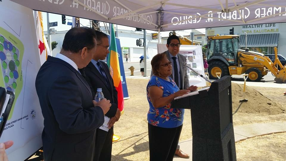 Margarita Madero, a University Park community member involved in the Hoover Triangle planning process, speaks during the ground-breaking ceremony for the project on Sept. 8, 2016. Standing with Madero are, from left, Councilman Gil Cedillo, Keith Mozee from the Bureau of Street Services, and Cedillo field deputy Luis Gonzalez.