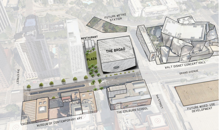 Rendering of a nighttime program at a plaza planned for The Broad museum in downtown Los Angeles.