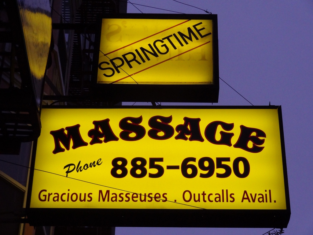 A sign outside a massage parlor in San Francisco, Calif.