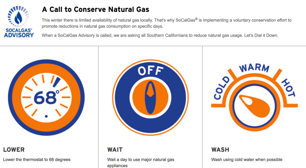 New calls to conserve gas could be coming this winter due to an explosion damaging some gas pipelines in October, 2017. Southern California Gas Company called on consumers to lower thermostats Dec. 18 to 20, 2016 to avert potential shortages of natural gas.