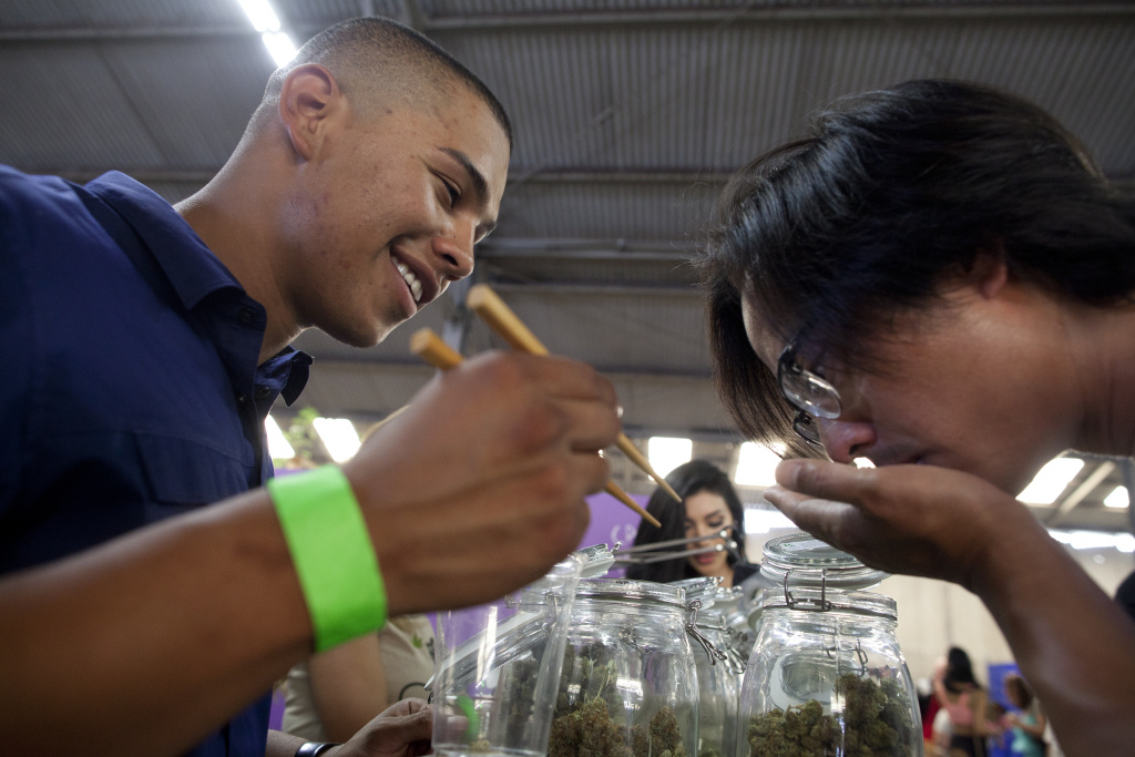 Anthony Guillen, left, shows a sample of a marijuana bud to a patient at the California Heritage Market, the first-ever cannabis farmers market in Los Angeles. The event drew more than a thousand people to an industrial area of Boyle Heights where all types and forms of marijuana were for sale to medical marijuana patients. A judge ruled Tuesday to block the market's operation after the city attorney asked for an injunction.