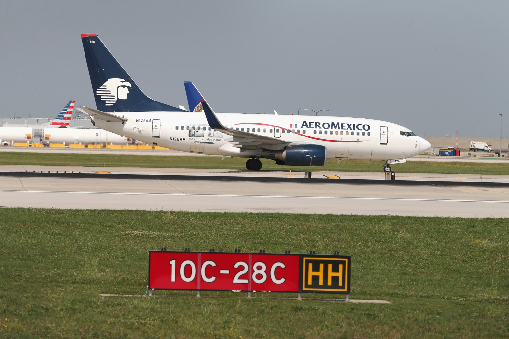 An AeroMexico jet taxis at O'Hare International Airport in Chicago.