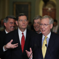 Senate Majority Leader Mitch McConnell (R-KY) (C) speaks the media after attending the Senate Republican policy luncheon, on Capitol Hill on June 6, 2017 in Washington, DC.