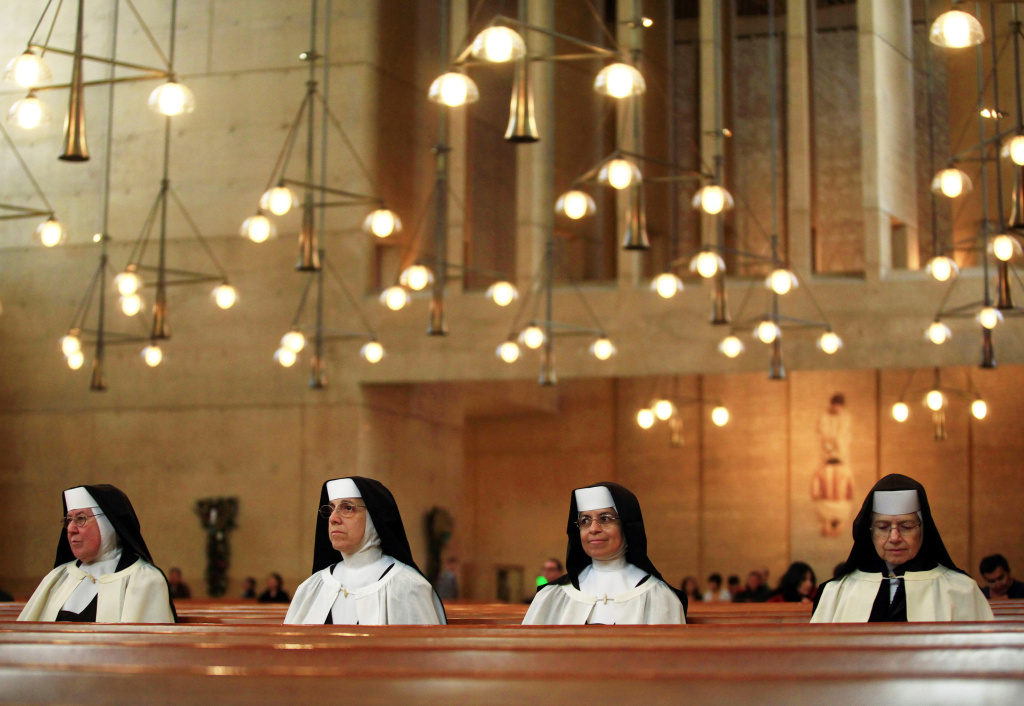 Nuns wait for Christmas mass at The Cathedral of Our Lady of the Angels December 25, 2010 in Los Angeles, California.