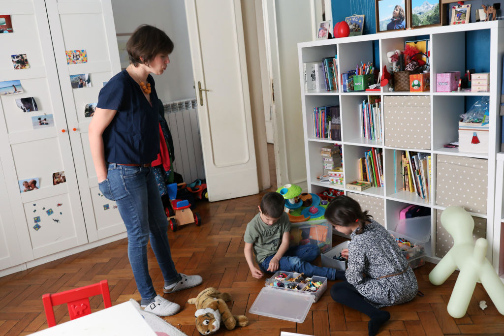 Benedetta attends to her children on May 13, 2020 in Rome, Italy.