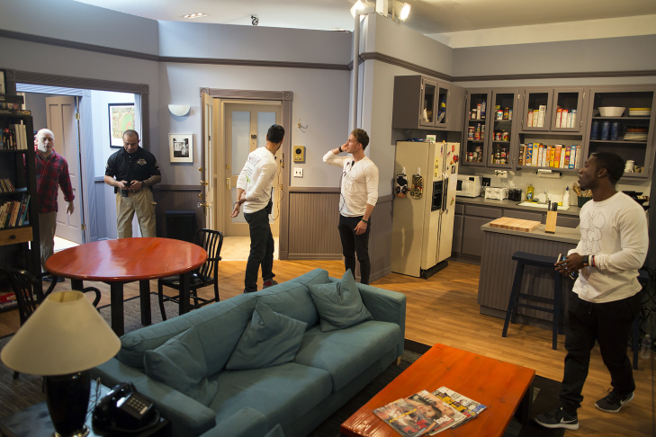 Augie Max Vargas does his Kramer entrance inside a replica of Jerry Seinfeld's Upper Westside apartment.