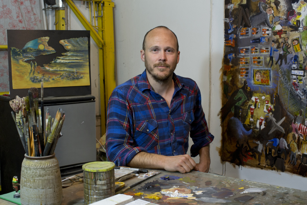 Artist Jack Bangerter in his Los Angeles studio on April 4, 2016. He's among the citizens participating in the Vote Allies project.