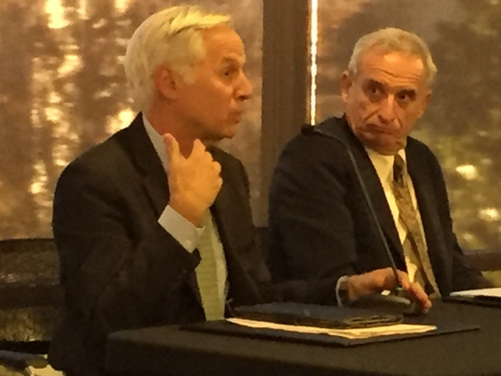 Pollsters Mark Baldassare with the Public Policy Institute of California and Mark DiCamillo with Field Research Corporation address the Sacramento Press Club on Wednesday, Nov. 16, 2016.