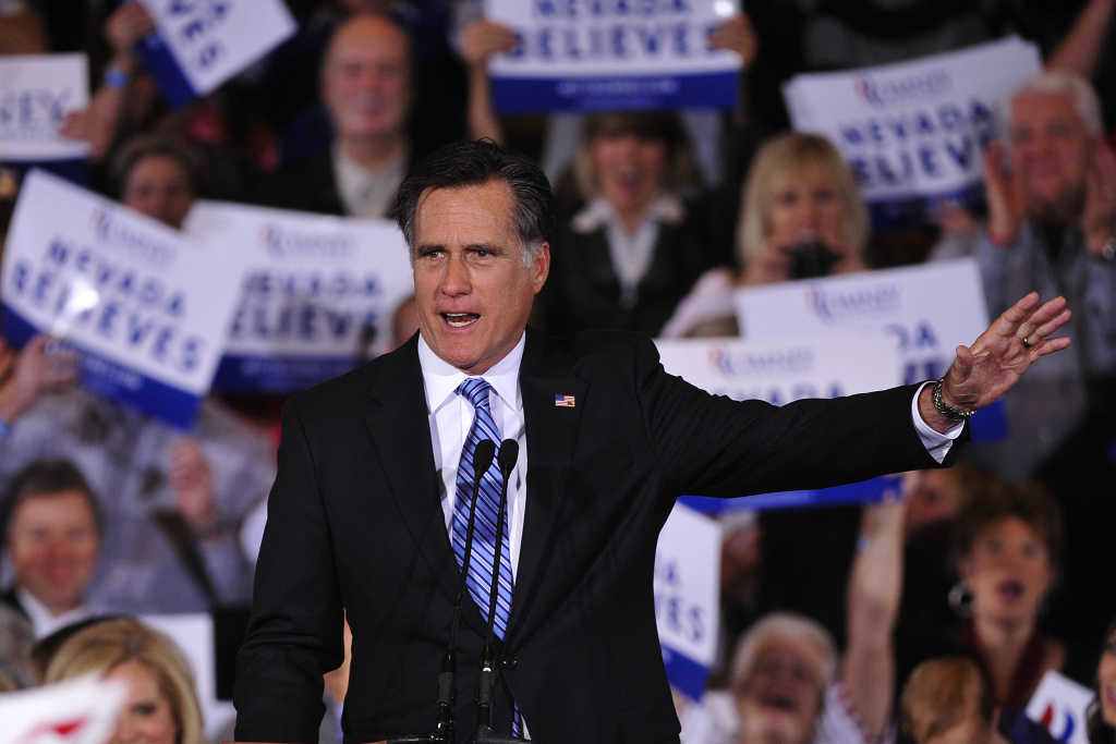 Republican presidential hopeful Mitt Romney holds a Caucus election night at Red Rock Casino in Las Vegas, Nevada, February 4, 2012.  AFP PHOTO/Emmanuel Dunand (Photo credit should read EMMANUEL DUNAND/AFP/Getty Images)