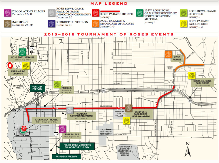 Map Rose Parade 2016 Your Guide To Decorating Camping