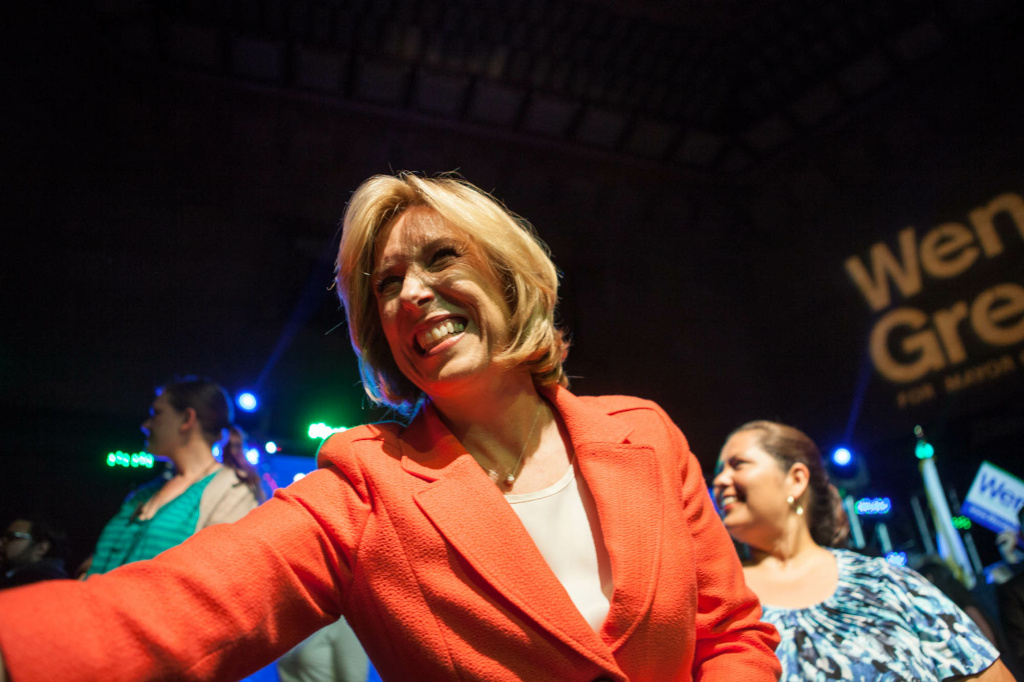 Mayoral candidate Wendy Greuel greets her supporters at her election night watch party in Downtown Los Angeles on May 21, 2013.