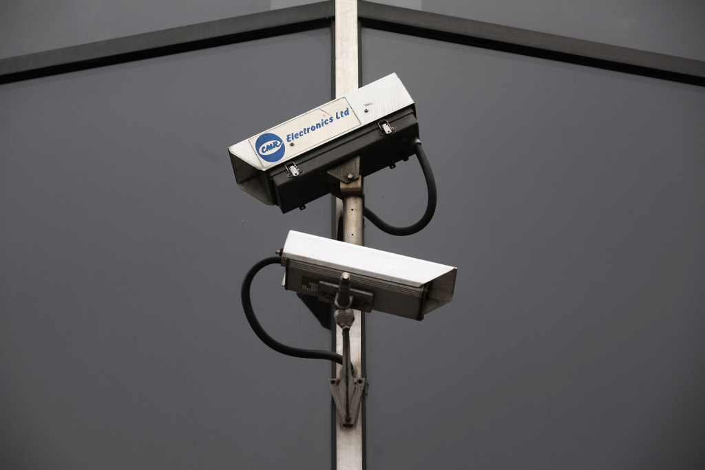 File photo of CCTV cameras. The security that arose in the United States after 9/11 is mainly invisible, creating buildings that don't officially exist.