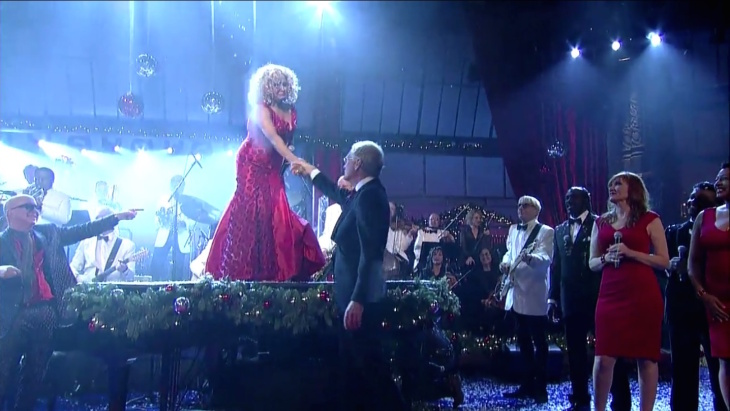 A screenshot of Darlene Love and David Letterman touching after her final performance of