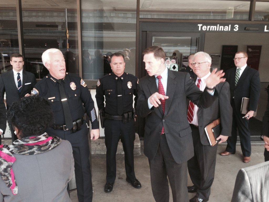 TSA administrator John Pistole and L.A. Airport police chief Patrick Gannon tour Terminal 3 at Los Angeles International Airport before a congressional committee hearing on lessons learned from the Nov. 1 shooting at LAX.