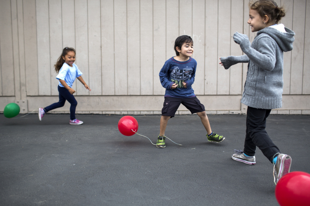 Transitional kindergarten student Anthony Arteaga takes part in a game called