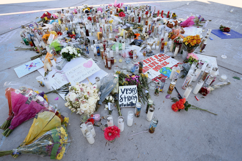 A memorial for the victims of the Las Vegas shooting is seen along the Las Vegas strip on Oct. 4, 2017.