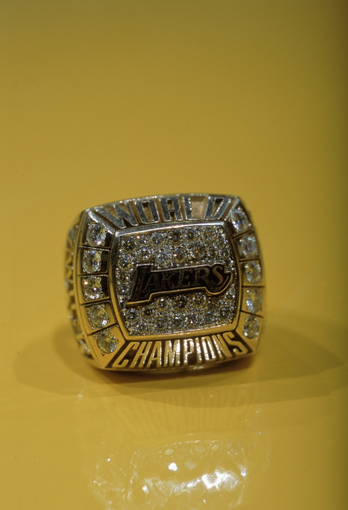 A view of the 2000 Championship Ring of the Los Angeles Lakers taken during the game against the Phoenix Suns at the Staples Center in Los Angeles, California.