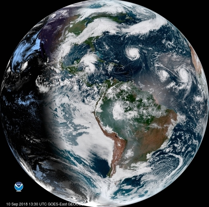 A satellite image from Monday, Sept. 10, shows Hurricane Florence as it travels west and gains strength in the Atlantic Ocean. Hurricanes Isaac and Helene have also formed off the coast of West Africa.