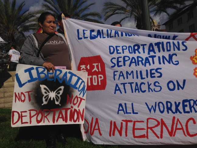 More than 150 activists descended on the the steps of the federal detention center in downtown Los Angeles to push the Obama administration to stop deportations.