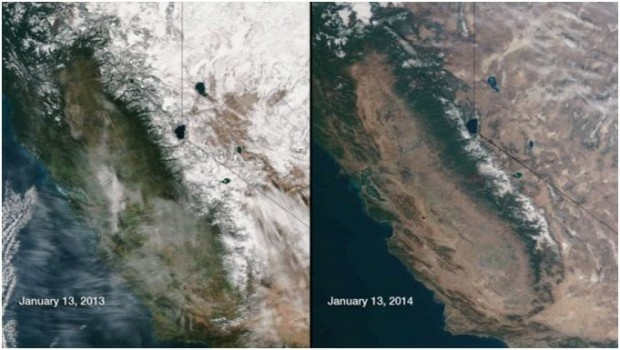 California's drought as seen from space.