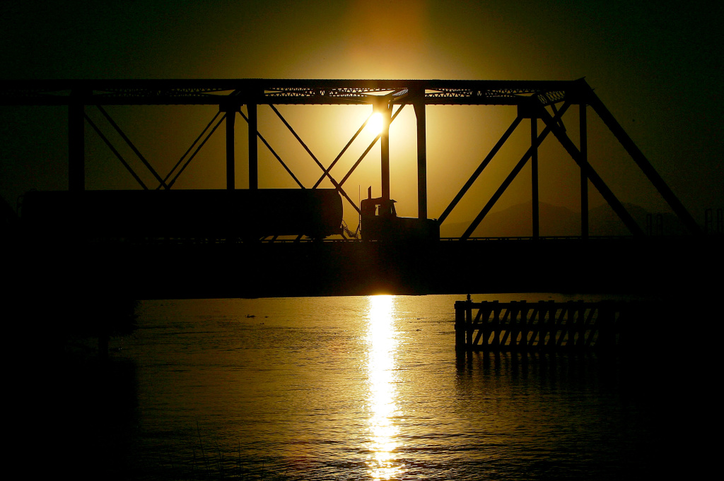A bridge on Highway 4 over the Old River, built in 1915, accommodates only one large truck at a time on September 28, 2005 west of Stockton, California. Officials say that the dikes of the Sacramento-San Joaquin River Delta are in worse shape than those that broke and flooded New Orleans during Hurricane Katrina.