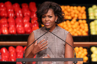 First Lady Michelle Obama makes an announcement on Jan. 20, 2011 about Wal-Mart teaming up to bring consumers healthy foods for lower prices.