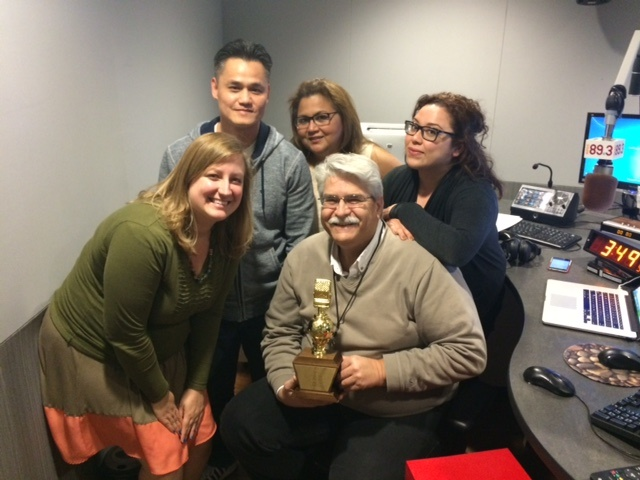 Celebrating the Best News Broadcast award - Left to Right back row: Thuy Mao, Rebecca Nieto, Bianca Ramirez; Left to Right front row: Ashley Bailey, Nick Roman. Not pictured: Kyle Garcia