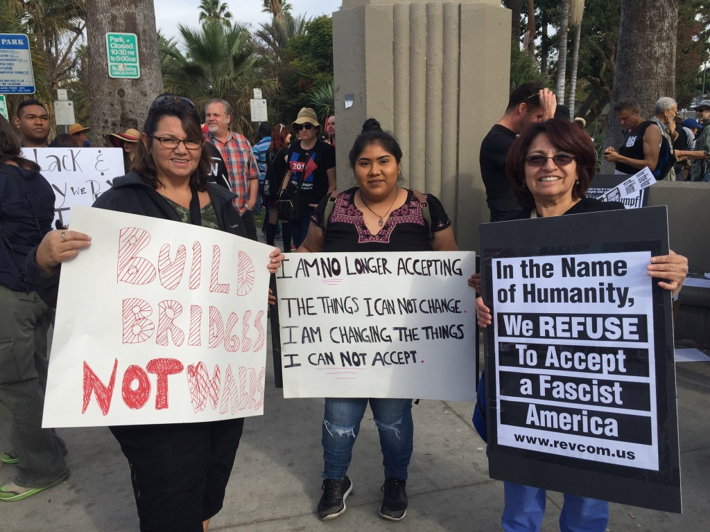 Anti-Donald Trump protestors at MacArthur Park in Los Angeles on Saturday, Nov. 12, 2016.