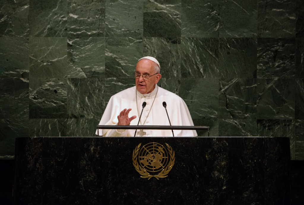 NEW YORK, NY - SEPTEMBER 25: Pope Francis delivers an address to the General Assembly of the United Nations on September 25, 2015 in New York City. Pope Francis, who arrived in New York on Thursday evening, began his day with an appearance at the UN before heading to a multi-religious service at the 9/11 Memorial and Museum. (Photo by Bryan Thomas/Getty Images)