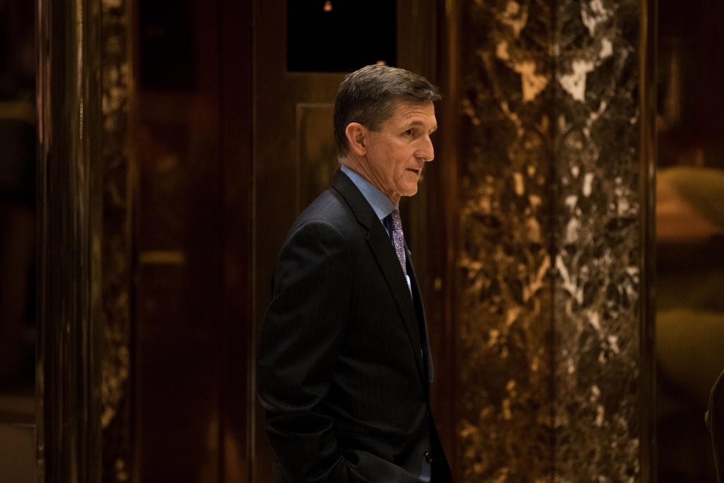 Retired Lt. Gen. Michael Flynn, President-elect Donald Trump's choice for National Security Advisor, waits for an elevator in the lobby at Trump Tower, December 12, 2016 in New York City.