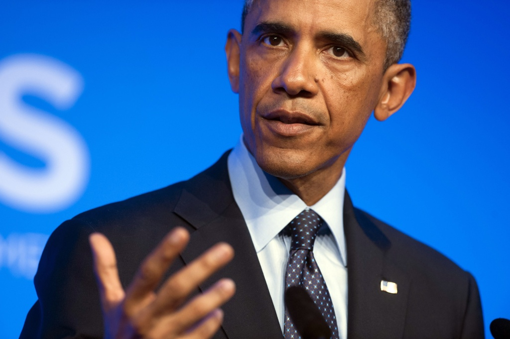 US President Barack Obama speaks at a press conference on the second day of the NATO 2014 Summit at the Celtic Manor Resort in Newport, South Wales, on September 5, 2014. Obama will address the public Wednesday night about his strategy for action against the Islamic State, or ISIS.