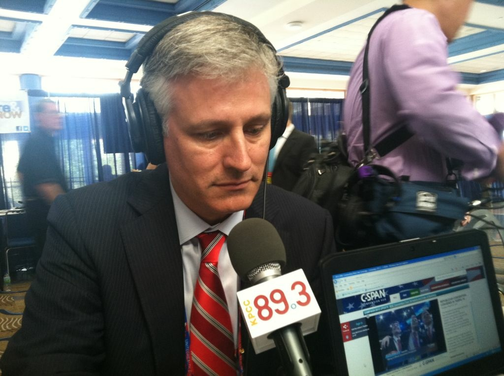 Mitt Romney's foreign policy advisor Robert O'Brien sits for an interview with Larry Mantle at the Republican National Convention on Aug. 28, 2012.