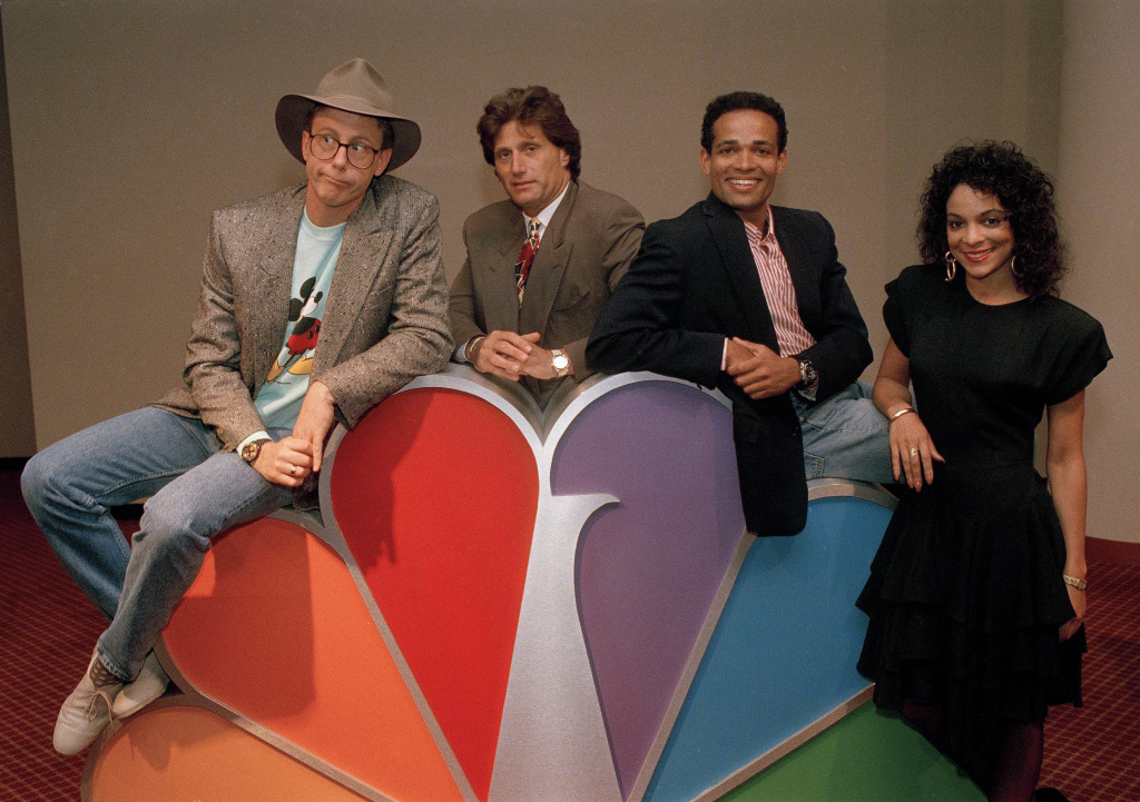 Harry Anderson, left, was among the stars posing for photographers after a press conference in New York announcing NBC-TV's prime time line-up for Fall 1988, shown May 19, 1988. Also pictured are, from left: Joe Cortese of