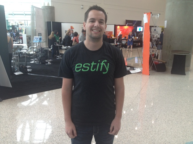 Jordan Furniss of Estify made the winning 'FASTPITCH' at the Connected Car Expo