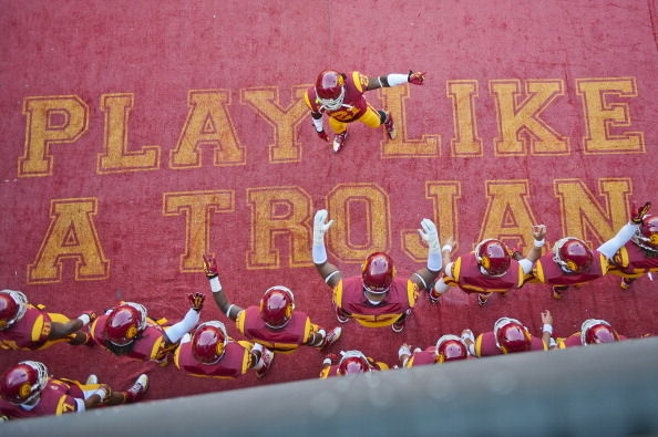 The USC Trojans enter the field before a game against the California Golden Bears at Los Angeles Memorial Coliseum on September 22, 2012 in Los Angeles, California. USC won 27-9.