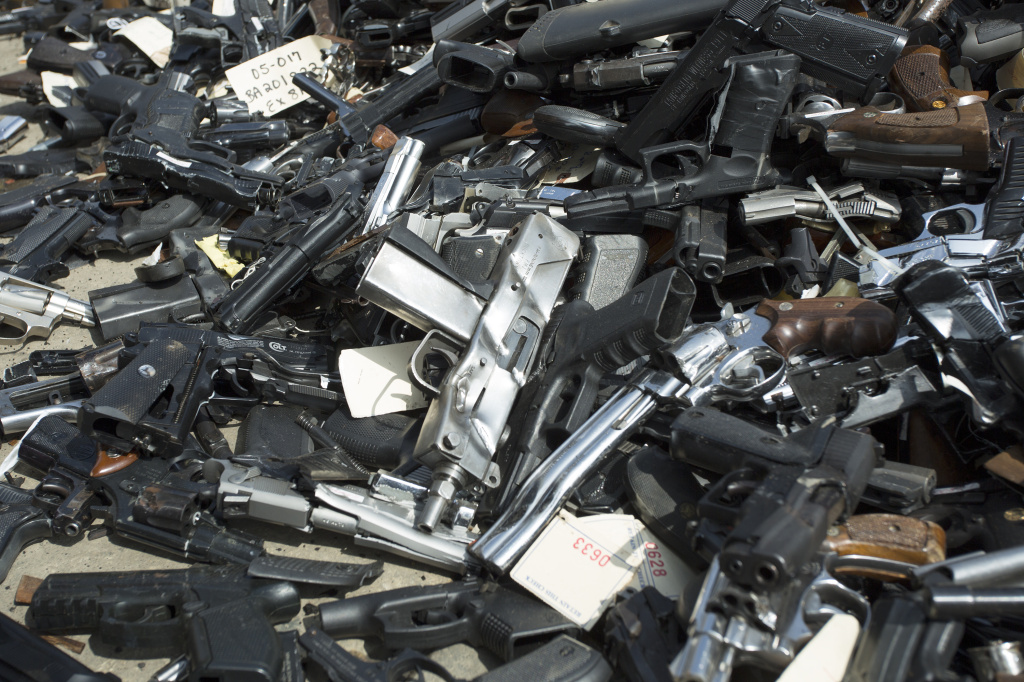 File: Guns are piled on the ground during the destruction of approximately 3,400 guns and other weapons at the Los Angeles County Sheriffs'• 22nd annual gun melt at Gerdau Steel Mill on July 6, 2015 in Rancho Cucamonga.