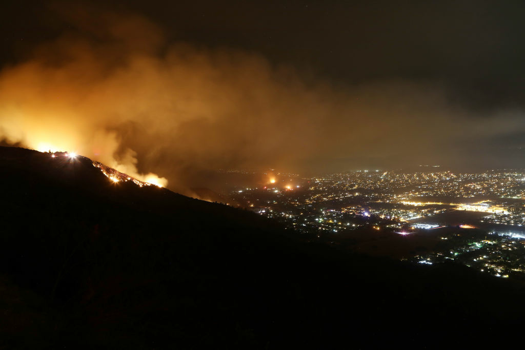 LAKE ELSINORE, CA - AUGUST 10:  The Holy Fire burns on August 10, 2018 near Lake Elsinore, California.