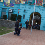 Parents of students at Miramonte Elementary School escort children out of school on Feb. 6, 2012.
