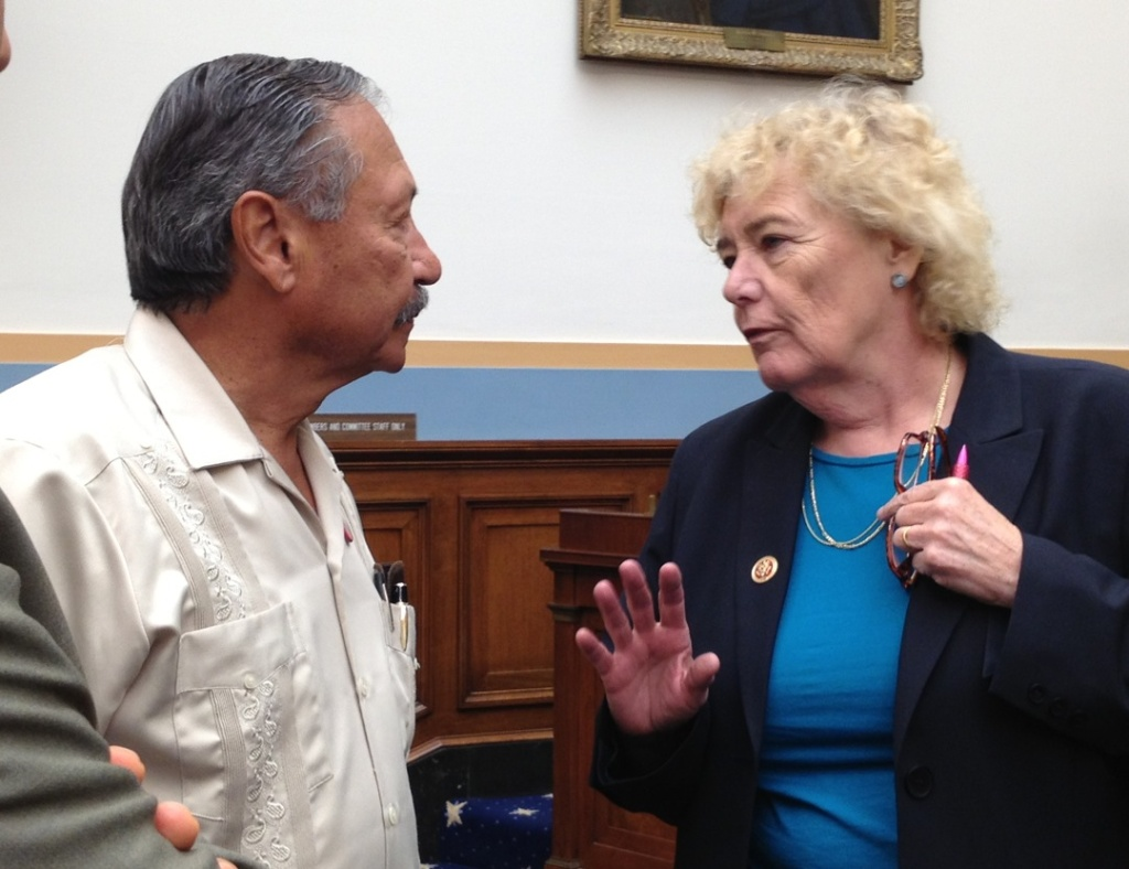 UFW President Arturo Rodgriguez listens to Rep. Zoe Lofgren at House immigration hearing