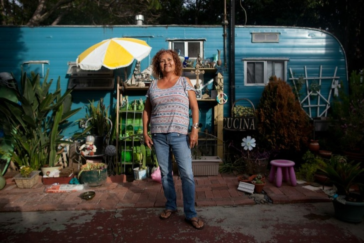 Dora Viesca and her husband have lived in Santa Monica's Village Trailer Park for 15 years. She keeps a garden and takes computer classes.