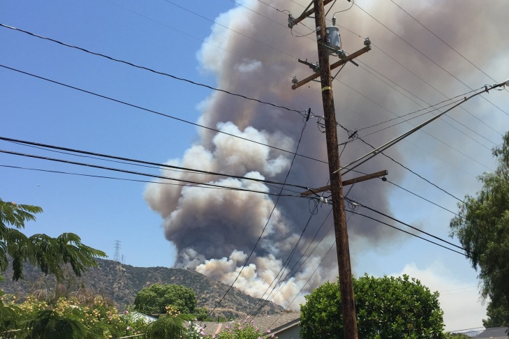 A photo of the Fish Fire on Monday, June 20, 2016, burning near Lori Moreno's home in Duarte.