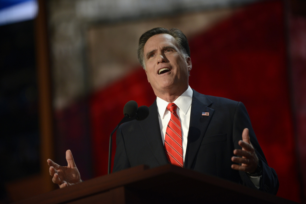 Mitt Romney speaks during the final day of the 2012 Republican National Convention at the Tampa Bay Times Forum August 29, 2012 in Tampa, Florida. Romney accepted the Republican nomination to run as the party's 2012 US Presidential candidate against US President Barack Obama.