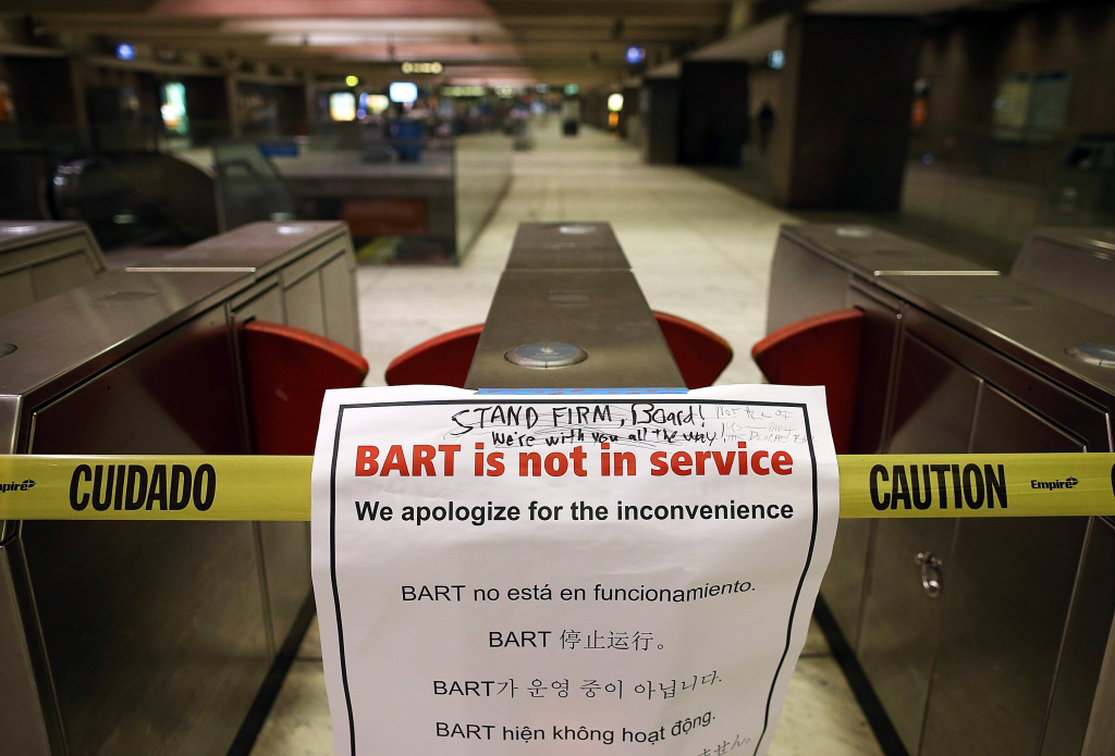 A closure sign is posted on a pay gate at the Bay Area Rapid Transit (BART) Embarcadero station on October 21, 2013 in San Francisco, California.