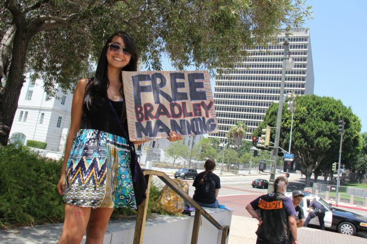 Lila Salas came from Whittier to spend the weekend at Fletcher Bowron Square.