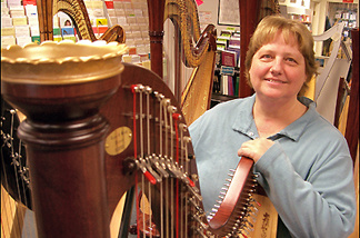 Sylvia Woods with her harp.