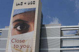 A detail of the exterior of the LAC + USC Medical Center on April 29, 2009 in the Boyle Heights section of Los Angeles, California.