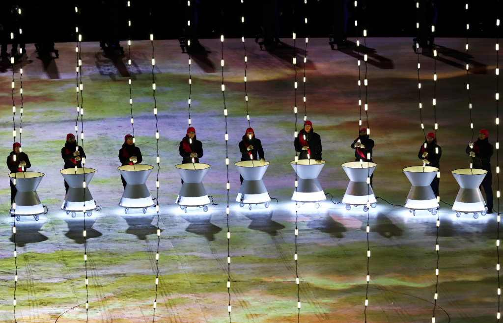 Performers entertain during the Opening Ceremony of the Pyeongchang 2018 Winter Olympics on February 9, 2018.