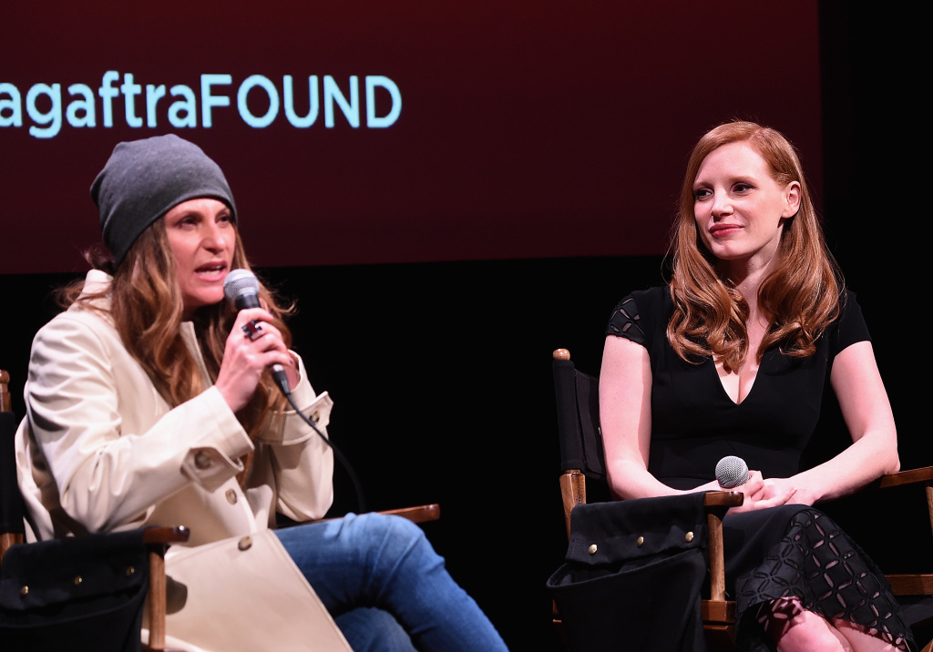Director Niki Caro (left) and Jessica Chastain attend the SAG-AFTRA Foundation talk about